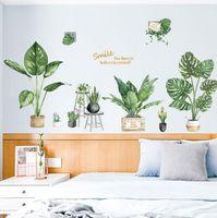 grands autocollants muraux auto-adhésifs achat en gros de-Creative ins grands stickers de décoration murale Green Fresh stickers muraux PVC autocollants de fond autocollants muraux créatifs mode maison