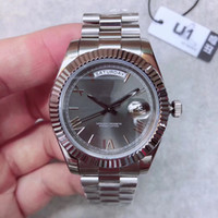 Wholesale big faced watches for sale - Group buy U1 Factory New Mens Watch DAY DATE Gray Rome Number Face Big Date Automatic Mechanics Watch Men Sapphire Glass Stainless Steel mens watch