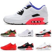 nouvelles chaussures de football d'arrivée achat en gros de-Nike air max 90 Nouvelle arrivée 90 Hommes Chaussures De Course Triple noir blanc USA Oreo NOIR CROC hommes femmes Trainer Respirant Chaussures De Sport taille 36-45