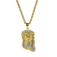 Wholesale pieces for necklaces resale online - HIP Hop Jewelry Iced Out Chains Crystal JESUS Christ Piece Head Face Pendants Necklaces Gold Chain for Men Jewelry