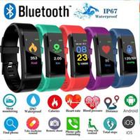 pedometre fitness toptan satış-115plus Spor Tracker Akıllı Bilezik BT Renkli Ekran Spor İzle Nabız Tansiyon Aleti Adımsayar Kalori Sayacı Adım