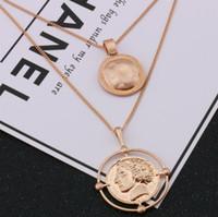 ingrosso monili della collana del pendente della moneta-designer gioielli moneta pendente collana doppio strato maglione collana pendente ritratto per le donne per le donne moda caldo