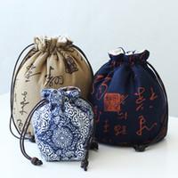 için çay takımları toptan satış-El yapımı Taşınabilir Bez Çay seti Saklama Çantası Kalınlaşmak Çin tarzı İpli Pamuk Seyahat Çantası Keten Çaydanlık Çay Bardağı Takı Çantası