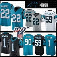 ingrosso jersey 59-22 Christian McCaffrey 2020 New Carolina Jersey Panthers 1 Cam Newton 59 Luke Kuechly 90 Julius Peppers Maglie calcio Grigio