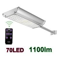 led sokak ışık direği toptan satış-Güneş Duvar Işıkları 70 leds Süper Parlaklık 1100lm Beyaz ve Sıcak Beyaz Su Geçirmez IP65 Alüminyum Montaj Direği ile LED Güneş Sokak Işık
