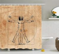 ingrosso tessuto di arte famosa-Cortina per doccia anatomia umana, uomo vitruviano medievale con campitura famosa pittura italiana rinascimentale body art, set di arredo bagno in tessuto
