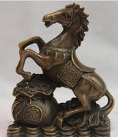 zodiac feng shui venda por atacado-NEWCollectible estátua do leão de bronze S0128 8 Chinese Folk Velho Bronze Cobre Feng Shui Saco Da Riqueza Do Zodíaco Gallop Cavalo Estátua B0403
