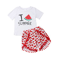me encanta el verano al por mayor-Lovely Kids Girls Trajes de verano de manga corta I Love Summer Impreso Tops T-Shirt + Sandalias borlas Shorts 2Pcs Girl Sets 2-7Y