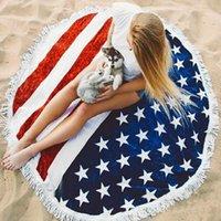 ingrosso tappeto giornaliero-Asciugamano da spiaggia a stelle e strisce Tappeto da spiaggia ad alta qualità Independence Day con nappe Tappetino in fibra di poliestere popolare blu 23 5hpD1