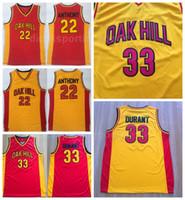 желтые вентиляторы оптовых-Колледж NCAA Oak Hill 33 Кевин Дюрант Джерси Мужчины Баскетбол средней школы 22 Кармело Энтони Трикотажная команда Желтый Красный В гостях для спортивных болельщиков