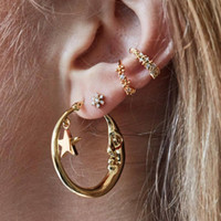 conjunto de joyas en forma de estrella al por mayor-Hot Europe Fashion Jewelry Earrings Set PUNK C-shaped Diamond Studded Moon Star Stud Earrings 4pcs / set S626