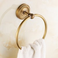 Wholesale copper towel rack for sale - Group buy Bathroom Towel Holder Ring Solid Copper Wall Mounted Round Antique Brass Towel Ring Towel Rack Classic Bathroom Accessories