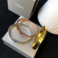 brazaletes indios al por mayor-MESSIKA Diseñador de joyas de lujo para mujer New Love Indian Bangles For Women Gold Overlay Cuff Bracelets Fashion Femme s 3 colores