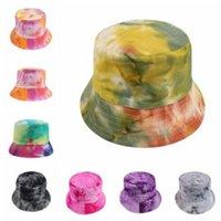 Wholesale nationals cap resale online - Tie Dye Color Hat National Style Bucket Hats Fahsion Outdoor Hip hop Caps Summer Prevent Bask Hats Festive Party Hats WY169Q