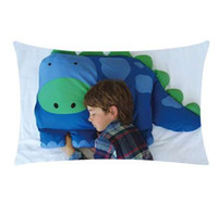 Wholesale kids pillowcase animal resale online - Pillow Case Knitted Kids Animal Boys Dylan The Dinosaur Pillowcase cm Rectangle Home Textile Pillow Cover DEC12