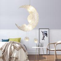lua pingente de luz venda por atacado-Criativo Moon Stars Fada LEVOU Luminária Luminária de Teto Luminária Crianças Crianças Quarto Decoração Branco Quente 110 V 220 V