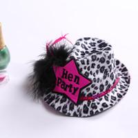 envio sex girl venda por atacado-12 pcs Leopardo Hen Party Mini Chapéu Superior Com Produto de Sexo de Penas Grampo de Cabelo Para Meninas Favores Do Casamento E Presentes Frete Grátis Y19061704