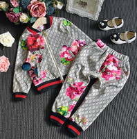 Wholesale clothing kids baby girls resale online - Children Suit Spring Autumn Boy Girl Suit Flower Jacket Trousers Sets Kids Clothes Casual Baby Girl Boy Set Costume