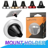 Wholesale magnetic phone holders for cars online – Car Mount Air Vent Magnetic Universal Mobile Phone Holder For iPhone X Samsung S10 Mounting Reinforced Magnet Car holder With Retail Package