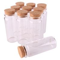 ingrosso piccoli tappi di bottiglie-24 pezzi 37 * 65 * 27 mm 65 ml Mini bottiglie di vetro che desiderano piccoli flaconcini di vasetti con tappo di sughero regalo di nozze