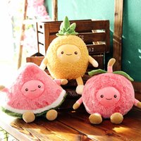 Wholesale cherry pillows resale online - Cherry Pineapple Shaped Stuffed Toy Fruit Watermelon Plush Doll Siesta Pillow Comfortable Cm High Quality bl D1