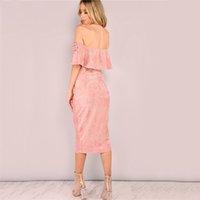 neue frauen kleider chiffon rosa großhandel-Elegante Abend Verein-Kleid Backless Midi-Rosa-Veloursleder weg von der Schulter-Rüsche-Kleid für Frauen der neuen Frauen-Kleid-Partei