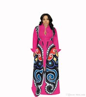 bata roja al por mayor-Rosa rojo Gran Swing vestidos de impresión africanos ropa de mujer más tamaño sexy elegante vestido de impresión de mariposa túnica Africaine diseño ropa