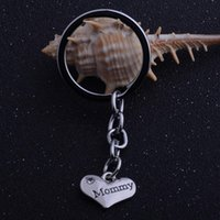 Wholesale mommy charms resale online - 12PC Mommy Heart A Crystal Keyring Heart Charm Pendant Keychain Women Girl Jewelry Mom Mommy Mama Mother s Day Gift Bag Key Ring