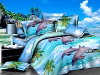 3d dolphins bedding toptan satış-4 adet Polyester Elyaf 3D Yunus Okyanus Manzaralı Reaktif Boyama Yatak Takımları Kraliçe Kral Nevresim Çarşaf Set