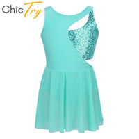 Wholesale blue ice skating dresses for sale - Group buy ChicTry Kids Shiny Sequins Sleeveless Figure Ice Skating Dress Ballet Gymnastics Leotard Children Girls Lyrical Dance Costumes