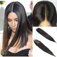 ingrosso merletto kim kardashian-Kim Kardashian Chiusura 5pcs Remy merletto dei capelli umani Dimensioni 2by6 Top chiusura del merletto Virgin estensioni dei capelli umani