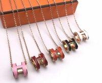 ingrosso gioielli in quarzo rosa 925-Nuovo lusso di alta qualità polsino orecchino lettera collana anello per uomo donna quarzo herm migliore regalo gioielli designer di marca paio regalo scatola