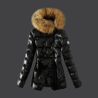 chaquetas diagonales con cremallera al por mayor-Ropa interior de la chaqueta de downs de las mujeres Gruesa chaqueta de botón de cremallera diagonal de invierno cálido cuello de piel chaqueta de mujer Abajo Parka Coat S - XL Envío gratis