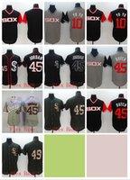 черный йойо оптовых-Оптовая Чикаго Белый #10 YOYO Sox Бейсбол трикотажные изделия 45 Бутч 45 Майкл 72 Фиск #49 продажа белый серый синий зеленый черный высокое качество !