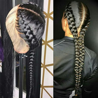 Wholesale braided wigs with baby hair for sale - Group buy Full Lace Human Hair Wigs With Baby Hair Straight Brazilian Middle Brown Lace Wig Braided Glueless Full Lace Wig Remy