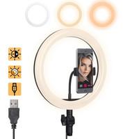 подставка для косметики оптовых-Светодиодная кольцевая подсветка, Dimmable Beauty Пластиковый мягкий USB Регулируемый3 Цвета подсветки 10 дюймов, с подставкой для телефона для потокового макияжа