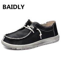 marka tuval dantel ayakkabıları toptan satış-Yeni Varış Kanvas Ayakkabılar Erkekler Yaz Rahat Rahat Ayakkabılar Erkek Tuval Dantel-Up Marka Moda Düz Loafer'lar Büyük Boy 39-48
