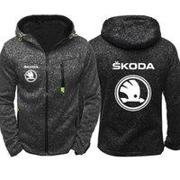 araba hoodies toptan satış-Hoodies Erkekler Skoda Araba Logo Baskı Rahat Hip Hop Harajuku Uzun Kollu Kapşonlu Tişörtü Erkek fermuar Ceket Adam Hoody Giyim