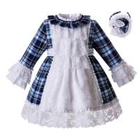 bebek mavi dantel gelinlik toptan satış-Pettigirl Yeni Beyaz Dantel Mavi Gird Bebek Kız Parti Elbise Çocuklar Düğün Için Prenses Elbise Butik Çocuklar Giysi Tasarımcısı G-DMGD111-C113