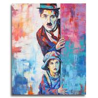 moderno, clássico, óleo, abstratos venda por atacado-Moderna Abstrata Figura Da Lona Charlie Chaplin Pop Art Parede Pictures Para Sala de estar Home Decor Pintura Graffiti Art Poster