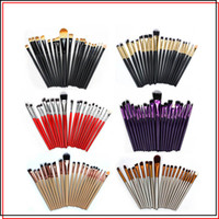 Wholesale red black eye shadow for sale - Group buy 20pcs Professional Cosmetics Makeup Brushes Kit Make Up Brushes Red Gold Black Handle Eye Shadow Foundation Lip Brush Tools Set Colors