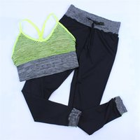 Wholesale yoga pants vest resale online - Women Letters Print Sports Bra Pants Set Girls Yoga GYM Breathable Crop Top Tank Sling Vest Push Up Bras Elasticity Leggings CRYF4103