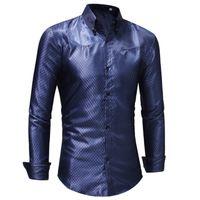 dabb6dc385 Camicia in seta da uomo 2019 Spring Satin Smooth Uomo Camicia a griglia  Business Chemise Homme Casual Slim Fit in oro lucido Camicie TAGLIA 3XL