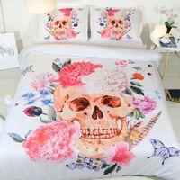 Wholesale 3d skull bedding sets online - 3D Skull Bed and Bedding Set Microfiber Bedding fadeless Comforter Duvet Cover Set Queen Bedclothes for Adults Bed