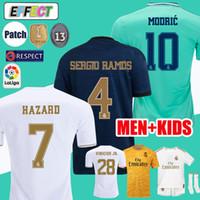 xxl beyaz gömlek toptan satış-2019 Real Madrid Futbol Formaları TEHLİKE camiseta de fútbol 19/20 Ev Beyaz Kiti MODRIK MARCELO 2020 KROOS ISCO BALE Çocuk Futbol Gömlek