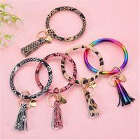 Wholesale car key ring holder resale online - New Arrival Ladies Bracelet Bangle Key Ring Bracelets Keychain Wristlet Bracelet PU Leather Bangle Keyring Holder Circle Car Keychains M254Y