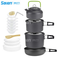 Wholesale aluminum camping cookware pot resale online - Camping Cookware Set Person Mess Kit with Non Stick Aluminum Pot Pan BPA Free Bowls Plates and Nylon Bag Perfect for Camping