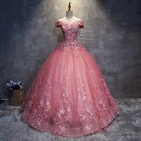 blumendruck organza großhandel-2020 Quinceanera Kleider Applikationen Elegant Schöne Vestidos De Party Prom Formale Blumendruck Ballkleider Vestidos De 15 Anos QC1468