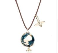 colar de pingente de mundo globo venda por atacado-Dongsheng Moda Mini Globo Da Terra Aeronave Avião Pingente Charme De Couro Esmalte Colar Viajar World Jewelry Turist Presentes-15