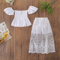 Wholesale childrens lace shirts resale online - 2019 summer girls outfits kids boutique clothing childrens clothes baby off the shoulder tops shirts shorts white lace skirts sets